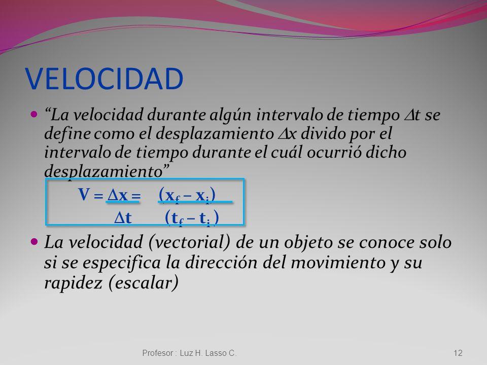 Velocidad Profesor : Luz H. Lasso C.11 La velocidad es la magnitud física que estudia la variación de la posición de un cuerpo en función del tiempo r