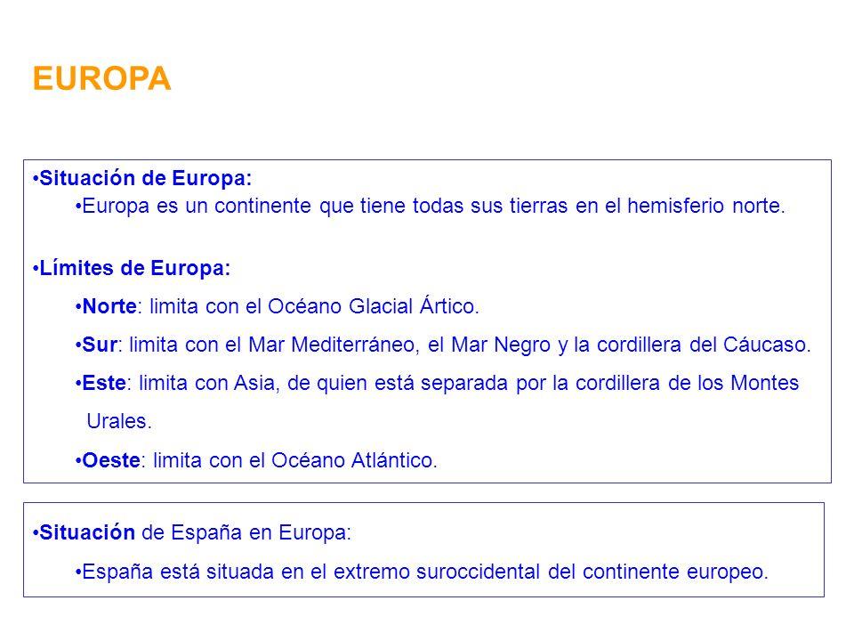 EUROPA Situación de Europa: Europa es un continente que tiene todas sus tierras en el hemisferio norte.