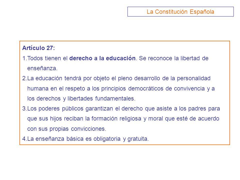 Artículo 27: 1.Todos tienen el derecho a la educación. Se reconoce la libertad de enseñanza. 2.La educación tendrá por objeto el pleno desarrollo de l