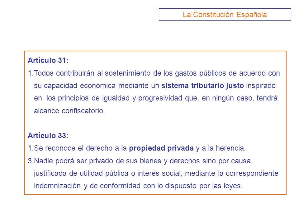 Artículo 31: 1.Todos contribuirán al sostenimiento de los gastos públicos de acuerdo con su capacidad económica mediante un sistema tributario justo i
