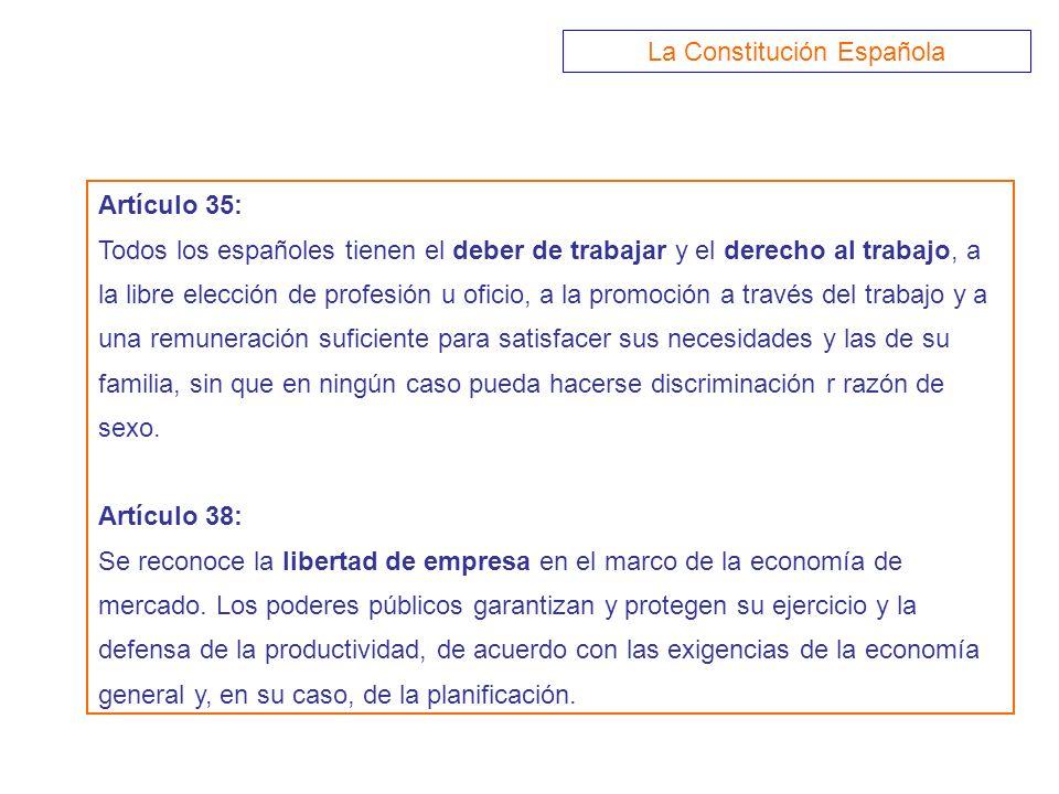 Artículo 35: Todos los españoles tienen el deber de trabajar y el derecho al trabajo, a la libre elección de profesión u oficio, a la promoción a trav