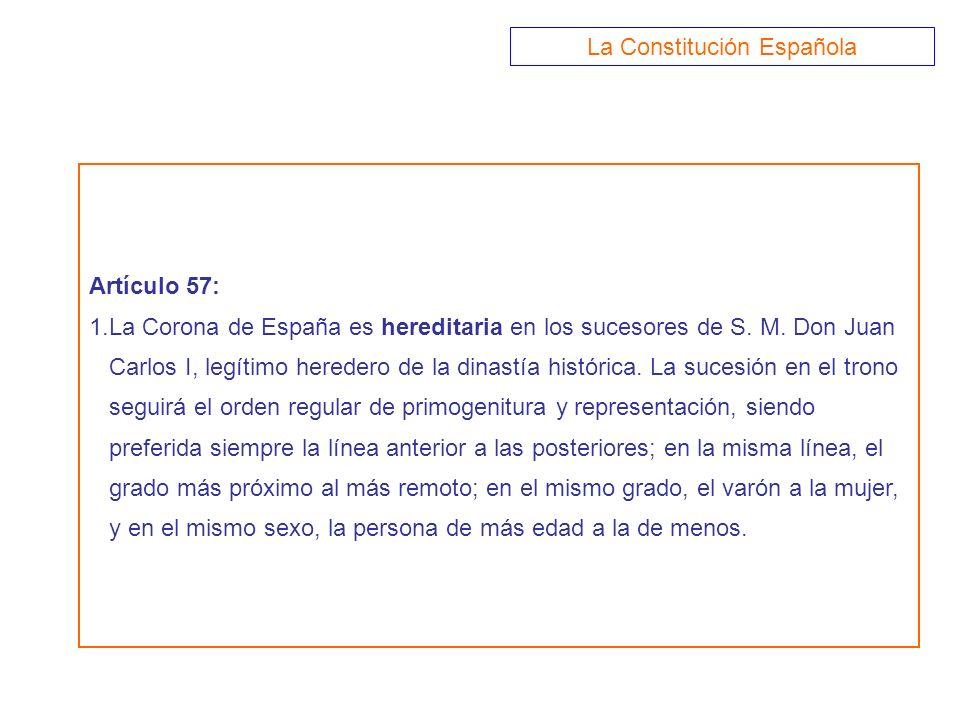 Artículo 57: 1.La Corona de España es hereditaria en los sucesores de S. M. Don Juan Carlos I, legítimo heredero de la dinastía histórica. La sucesión