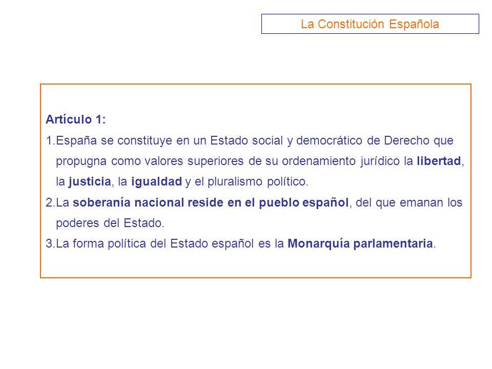 Artículo 1: 1.España se constituye en un Estado social y democrático de Derecho que propugna como valores superiores de su ordenamiento jurídico la li