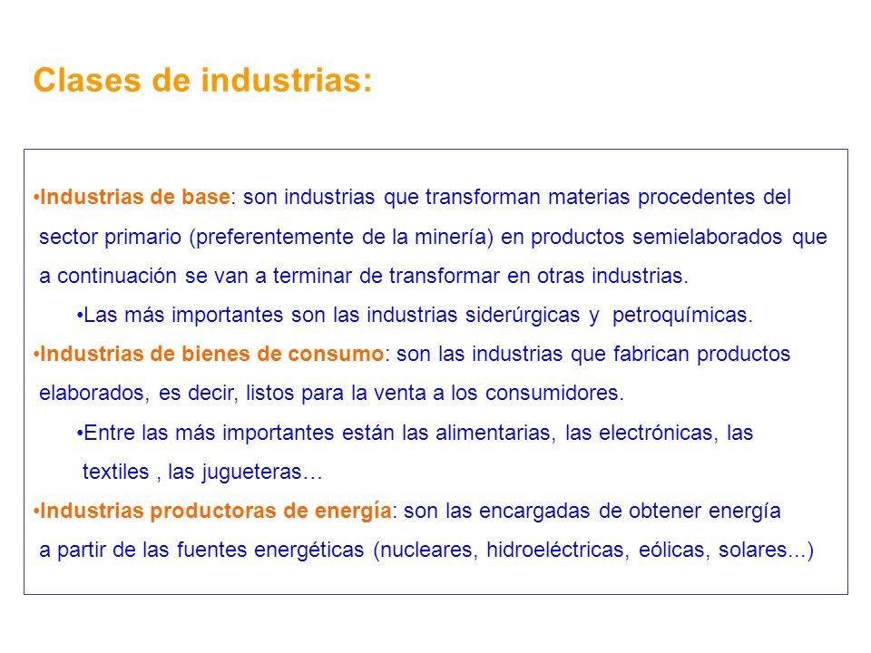 Clases de industrias: Industrias de base: son industrias que transforman materias procedentes del sector primario (preferentemente de la minería) en p