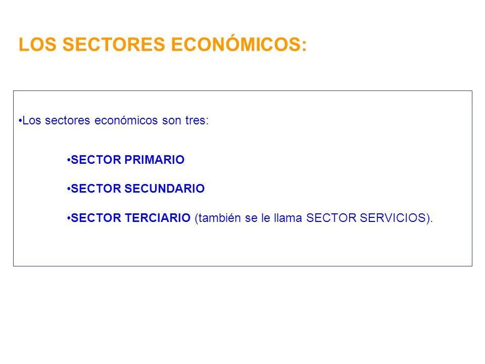 LOS SECTORES ECONÓMICOS: Los sectores económicos son tres: SECTOR PRIMARIO SECTOR SECUNDARIO SECTOR TERCIARIO (también se le llama SECTOR SERVICIOS).