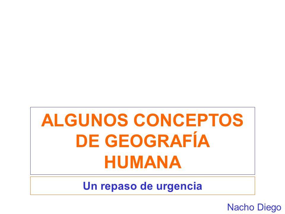 ALGUNOS CONCEPTOS DE GEOGRAFÍA HUMANA Un repaso de urgencia Nacho Diego