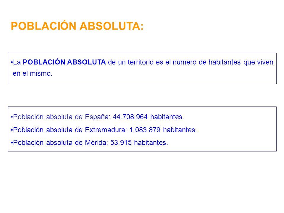 POBLACIÓN ABSOLUTA: La POBLACIÓN ABSOLUTA de un territorio es el número de habitantes que viven en el mismo. Población absoluta de España: 44.708.964