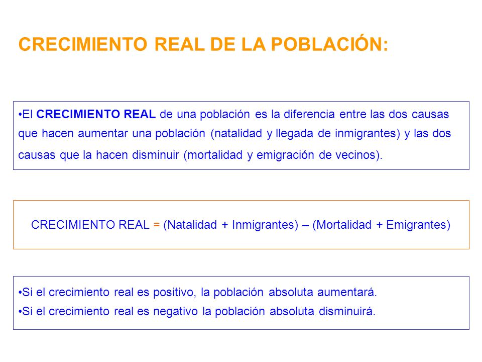 CRECIMIENTO REAL DE LA POBLACIÓN: El CRECIMIENTO REAL de una población es la diferencia entre las dos causas que hacen aumentar una población (natalid