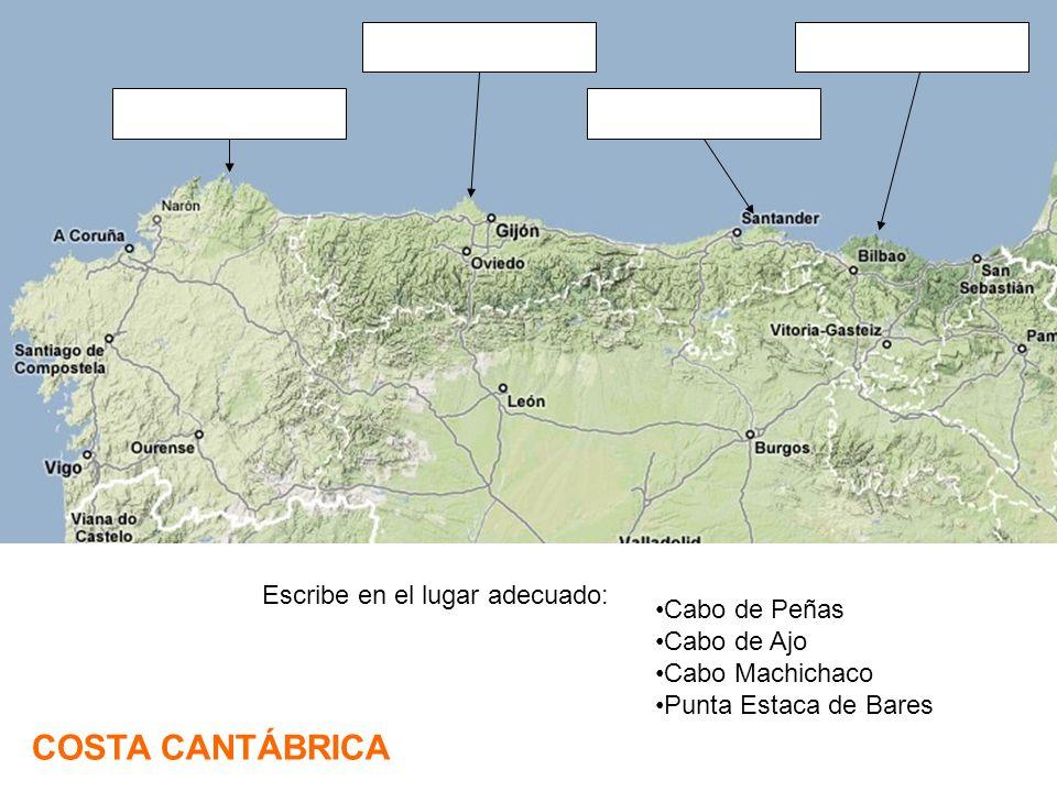 Cabo de Peñas Cabo de Ajo Cabo Machichaco Punta Estaca de Bares COSTA CANTÁBRICA Escribe en el lugar adecuado: