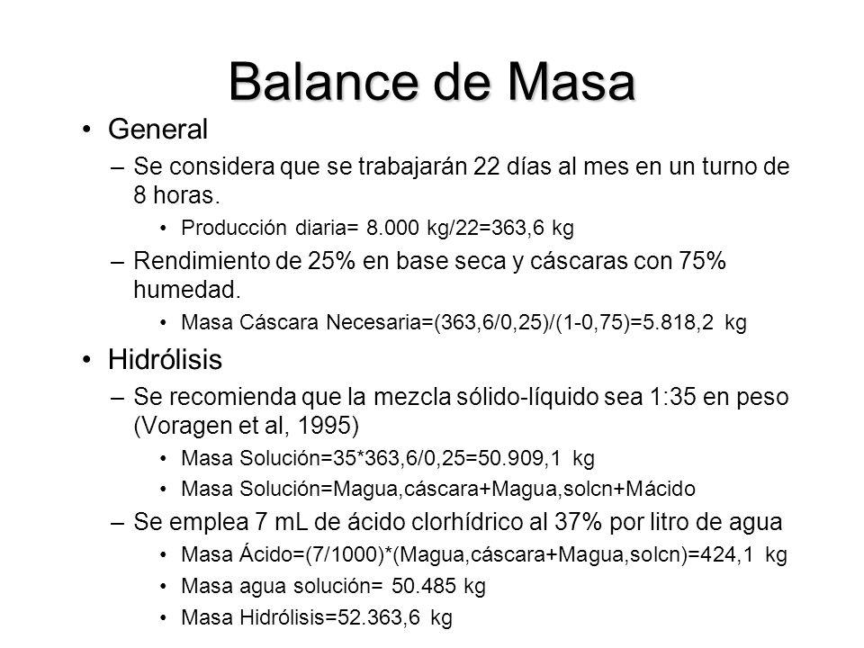 Balance de Masa General –Se considera que se trabajarán 22 días al mes en un turno de 8 horas.