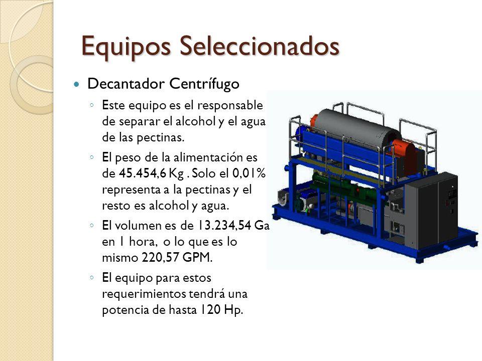 Equipos Seleccionados Decantador Centrífugo Este equipo es el responsable de separar el alcohol y el agua de las pectinas. El peso de la alimentación
