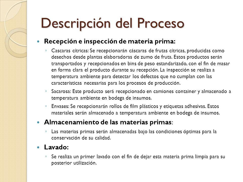 Descripción del Proceso Recepción e inspección de materia prima: Cascaras cítricas: Se recepcionarán cáscaras de frutas cítricas, producidas como dese