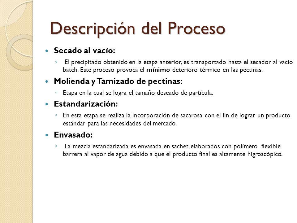 Descripción del Proceso Secado al vacío: El precipitado obtenido en la etapa anterior, es transportado hasta el secador al vacío batch. Este proceso p