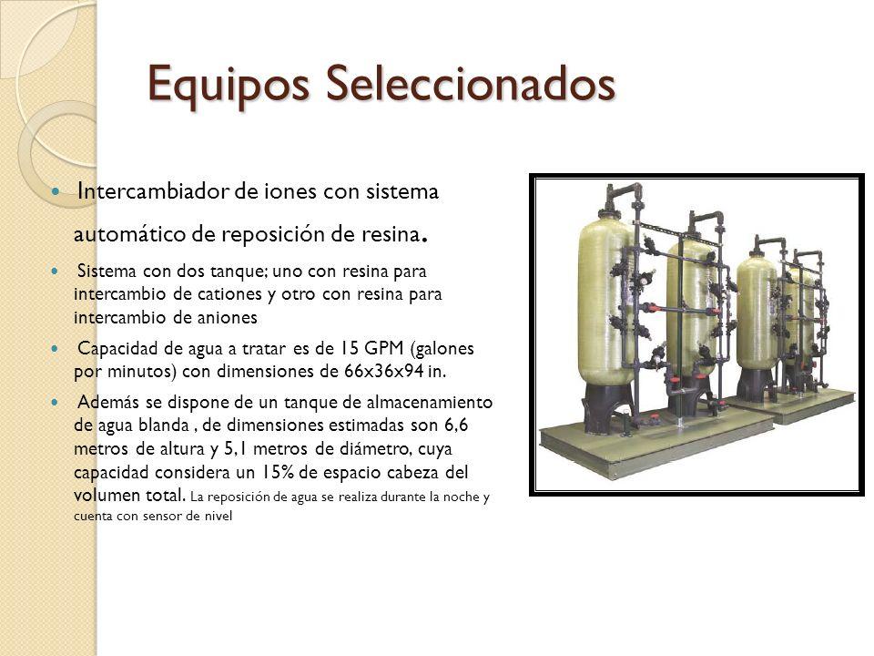 Intercambiador de iones con sistema automático de reposición de resina. Sistema con dos tanque; uno con resina para intercambio de cationes y otro con
