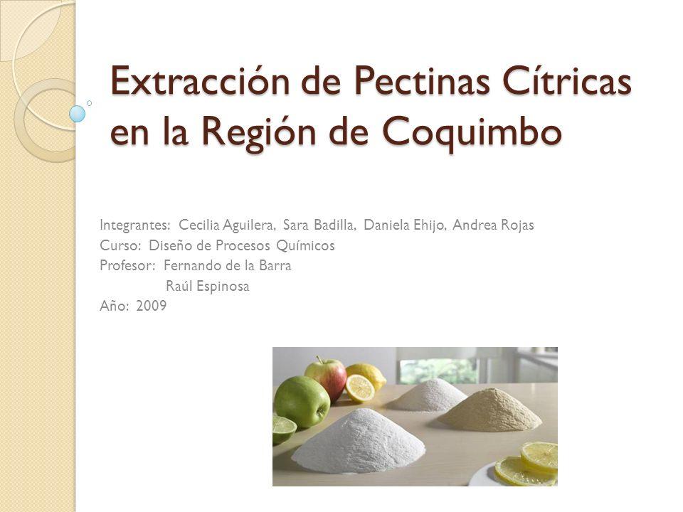 Extracción de Pectinas Cítricas en la Región de Coquimbo Integrantes: Cecilia Aguilera, Sara Badilla, Daniela Ehijo, Andrea Rojas Curso: Diseño de Pro