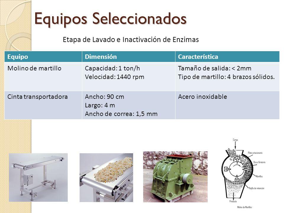 Equipos Seleccionados EquipoDimensiónCaracterística Molino de martilloCapacidad: 1 ton/h Velocidad: 1440 rpm Tamaño de salida: < 2mm Tipo de martillo:
