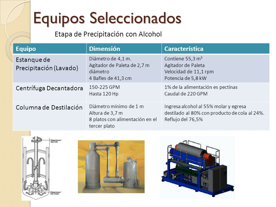 Equipos Seleccionados Etapa de Precipitación con Alcohol EquipoDimensiónCaracterística Estanque de Precipitación (Lavado) Diámetro de 4,1 m. Agitador