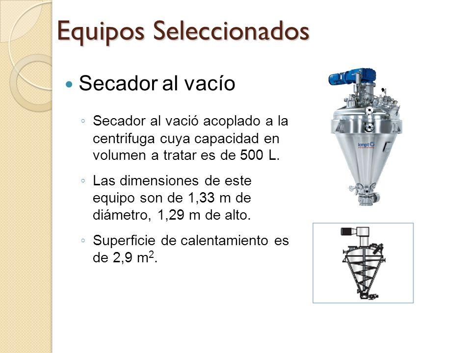 Equipos Seleccionados Secador al vacío Secador al vació acoplado a la centrifuga cuya capacidad en volumen a tratar es de 500 L. Las dimensiones de es
