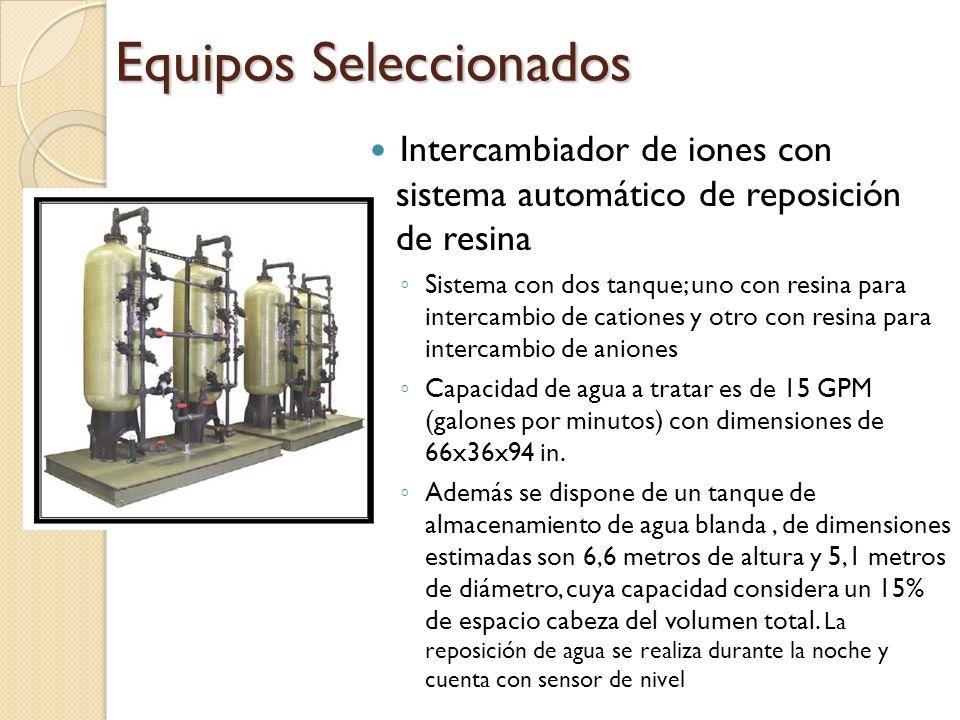 Intercambiador de iones con sistema automático de reposición de resina Sistema con dos tanque; uno con resina para intercambio de cationes y otro con