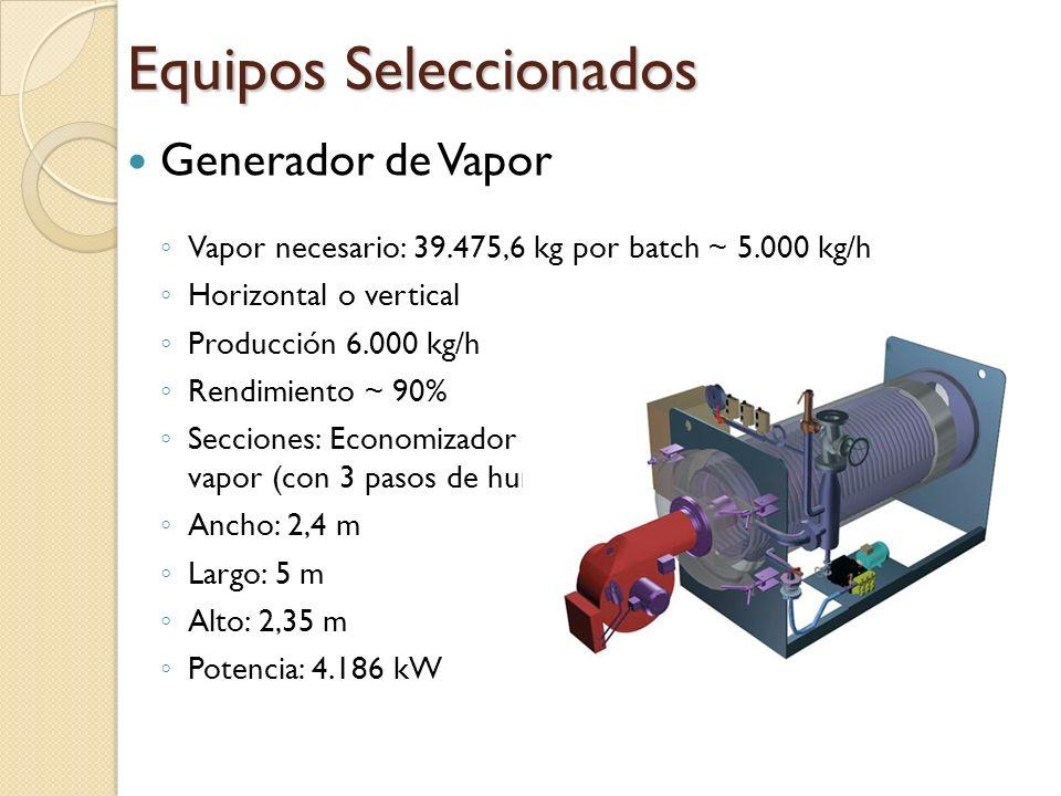 Generador de Vapor Vapor necesario: 39.475,6 kg por batch ~ 5.000 kg/h Horizontal o vertical Producción 6.000 kg/h Rendimiento ~ 90% Secciones: Econom