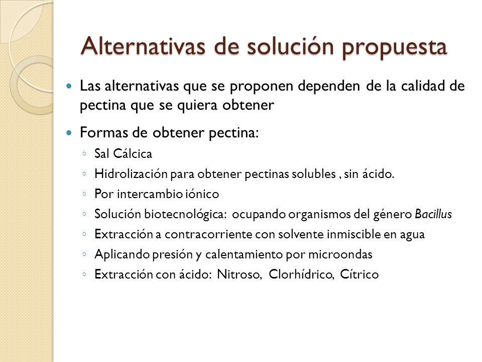 Alternativas de solución propuesta Las alternativas que se proponen dependen de la calidad de pectina que se quiera obtener Formas de obtener pectina: