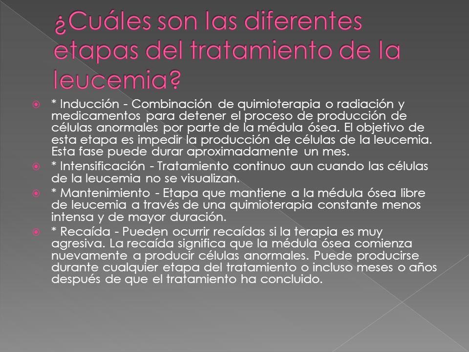* Inducción - Combinación de quimioterapia o radiación y medicamentos para detener el proceso de producción de células anormales por parte de la médul
