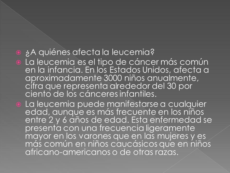 ¿A quiénes afecta la leucemia? La leucemia es el tipo de cáncer más común en la infancia. En los Estados Unidos, afecta a aproximadamente 3000 niños a