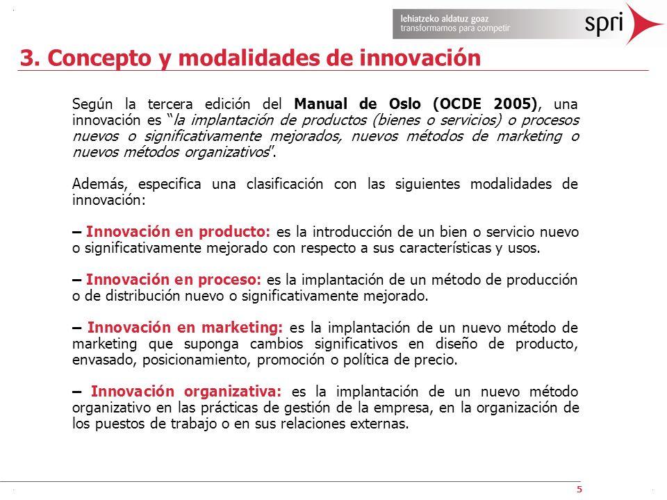 5 3. Concepto y modalidades de innovación Según la tercera edición del Manual de Oslo (OCDE 2005), una innovación es la implantación de productos (bie