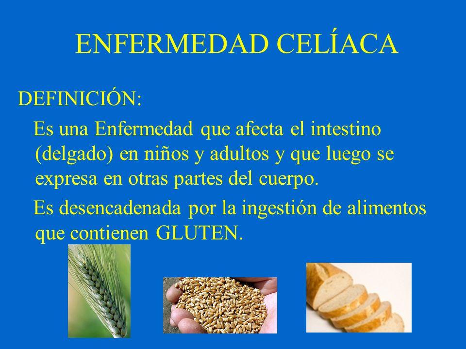 ENFERMEDAD CELÍACA DEFINICIÓN: Es una Enfermedad que afecta el intestino (delgado) en niños y adultos y que luego se expresa en otras partes del cuerp