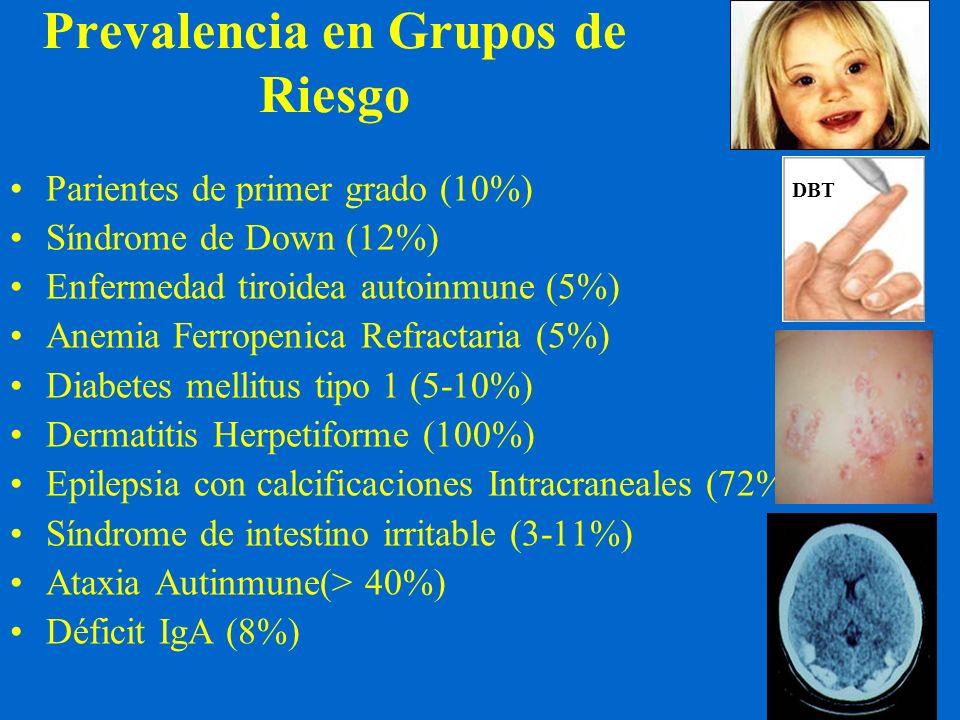 Prevalencia en Grupos de Riesgo Parientes de primer grado (10%) Síndrome de Down (12%) Enfermedad tiroidea autoinmune (5%) Anemia Ferropenica Refracta