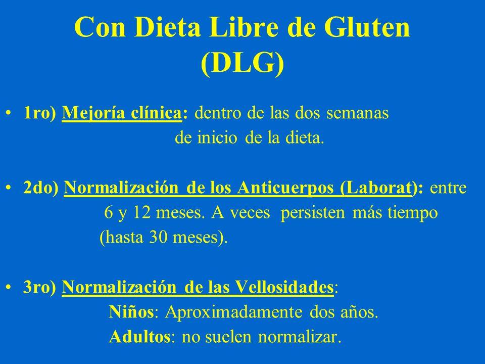 Con Dieta Libre de Gluten (DLG) 1ro) Mejoría clínica: dentro de las dos semanas de inicio de la dieta. 2do) Normalización de los Anticuerpos (Laborat)