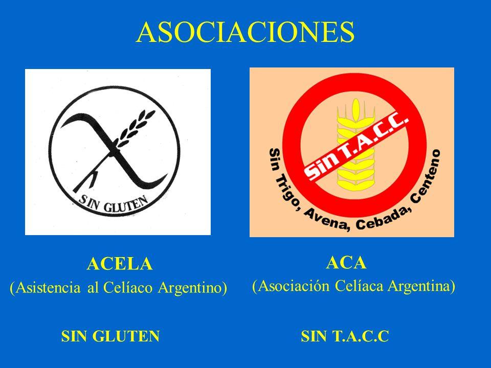 ASOCIACIONES ACELA (Asistencia al Celíaco Argentino) ACA (Asociación Celíaca Argentina) SIN GLUTENSIN T.A.C.C