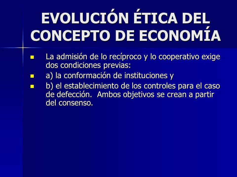 EVOLUCIÓN ÉTICA DEL CONCEPTO DE ECONOMÍA La admisión de lo recíproco y lo cooperativo exige dos condiciones previas: La admisión de lo recíproco y lo