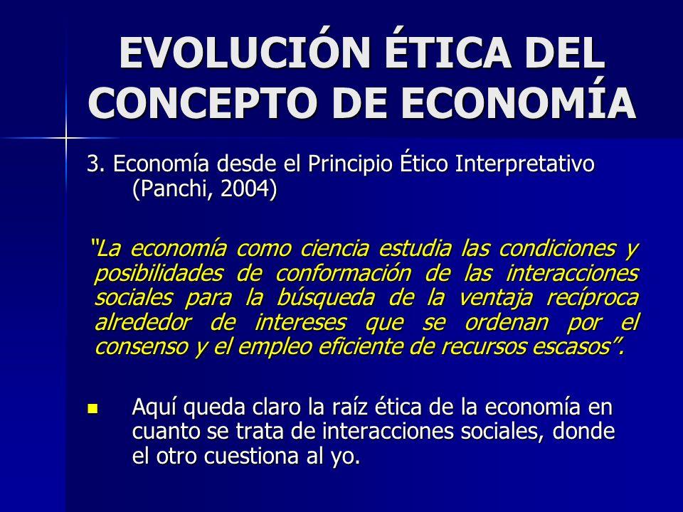 EVOLUCIÓN ÉTICA DEL CONCEPTO DE ECONOMÍA 3. Economía desde el Principio Ético Interpretativo (Panchi, 2004) La economía como ciencia estudia las condi
