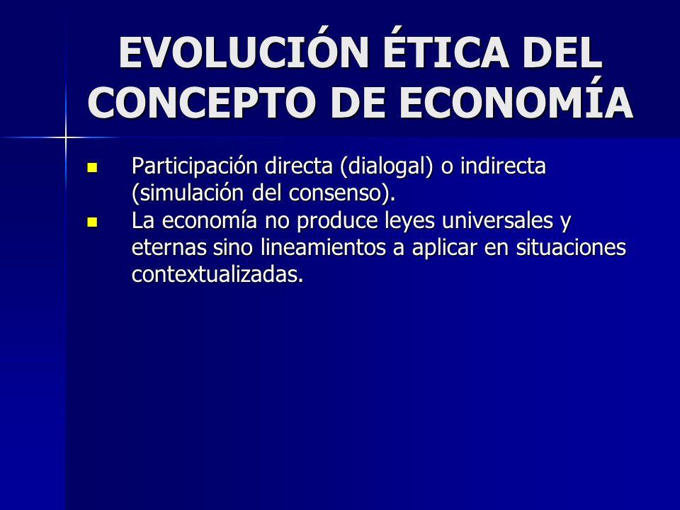 EVOLUCIÓN ÉTICA DEL CONCEPTO DE ECONOMÍA Participación directa (dialogal) o indirecta (simulación del consenso). Participación directa (dialogal) o in