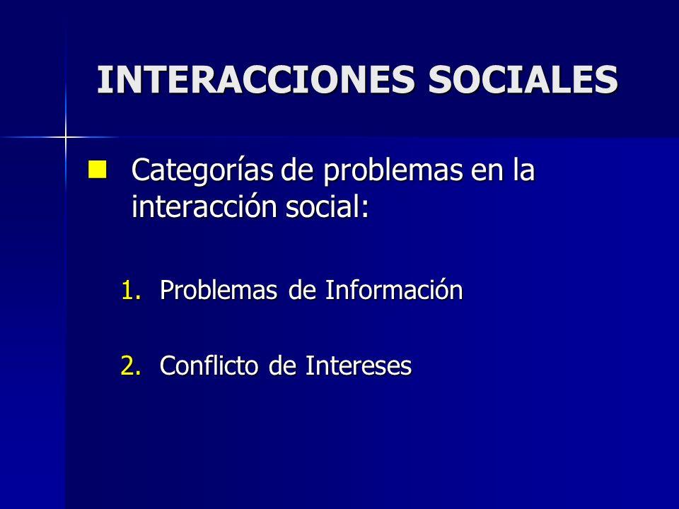 Categorías de problemas en la interacción social: Categorías de problemas en la interacción social: 1.Problemas de Información 2.Conflicto de Interese