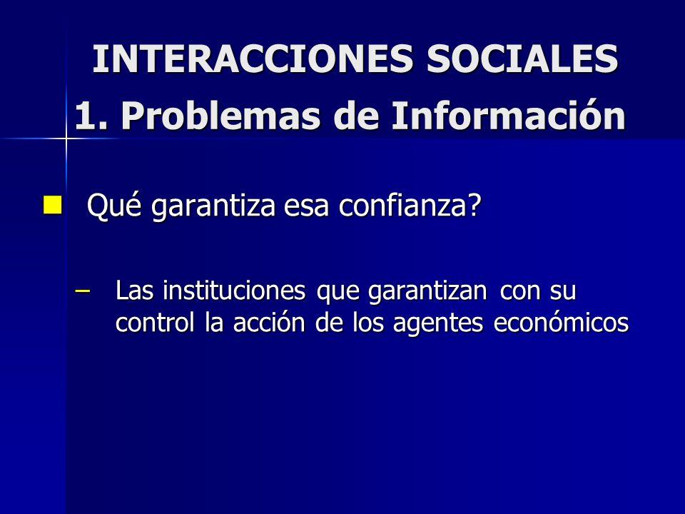 INTERACCIONES SOCIALES Qué garantiza esa confianza? Qué garantiza esa confianza? –Las instituciones que garantizan con su control la acción de los age
