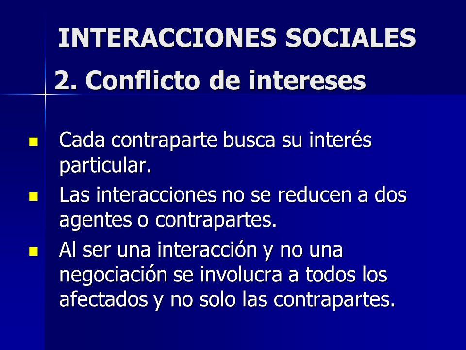 INTERACCIONES SOCIALES Cada contraparte busca su interés particular. Cada contraparte busca su interés particular. Las interacciones no se reducen a d