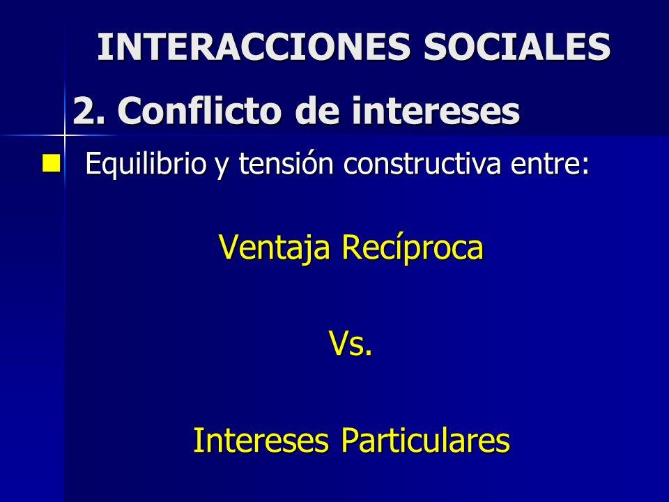 INTERACCIONES SOCIALES Equilibrio y tensión constructiva entre: Equilibrio y tensión constructiva entre: Ventaja Recíproca Vs. Intereses Particulares