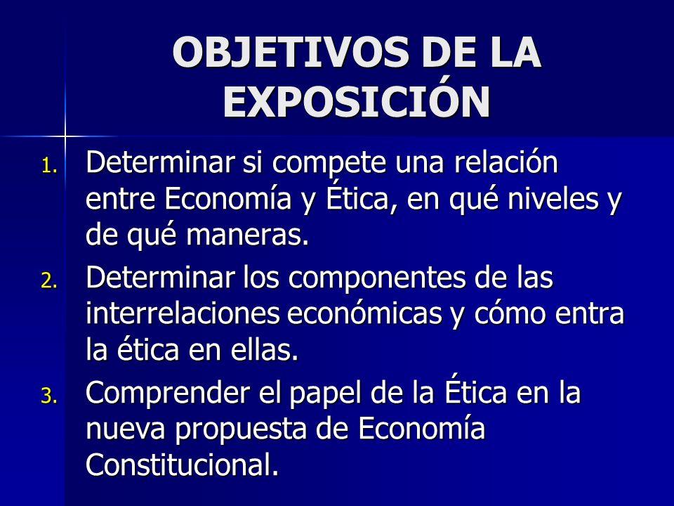 OBJETIVOS DE LA EXPOSICIÓN 1. Determinar si compete una relación entre Economía y Ética, en qué niveles y de qué maneras. 2. Determinar los componente