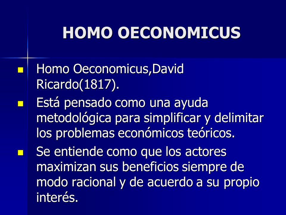 HOMO OECONOMICUS Homo Oeconomicus,David Ricardo(1817). Homo Oeconomicus,David Ricardo(1817). Está pensado como una ayuda metodológica para simplificar
