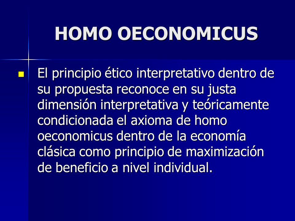 El principio ético interpretativo dentro de su propuesta reconoce en su justa dimensión interpretativa y teóricamente condicionada el axioma de homo o