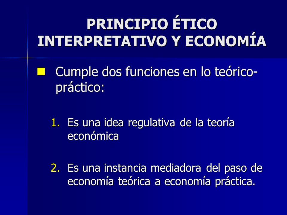 PRINCIPIO ÉTICO INTERPRETATIVO Y ECONOMÍA Cumple dos funciones en lo teórico- práctico: Cumple dos funciones en lo teórico- práctico: 1.Es una idea re