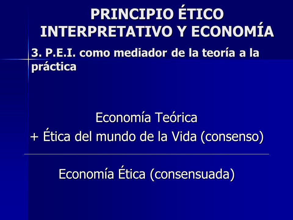 PRINCIPIO ÉTICO INTERPRETATIVO Y ECONOMÍA Economía Teórica + Ética del mundo de la Vida (consenso) Economía Ética (consensuada) 3. P.E.I. como mediado