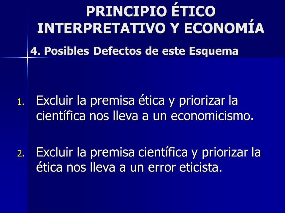 PRINCIPIO ÉTICO INTERPRETATIVO Y ECONOMÍA 4. Posibles Defectos de este Esquema 1. Excluir la premisa ética y priorizar la científica nos lleva a un ec