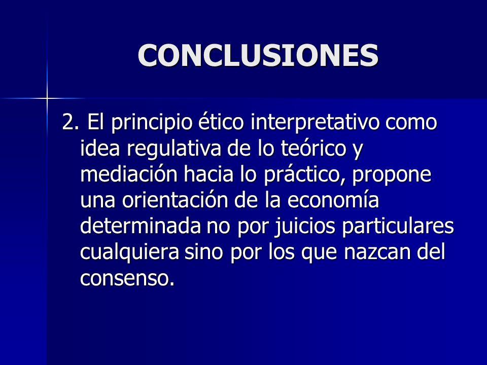CONCLUSIONES 2. El principio ético interpretativo como idea regulativa de lo teórico y mediación hacia lo práctico, propone una orientación de la econ