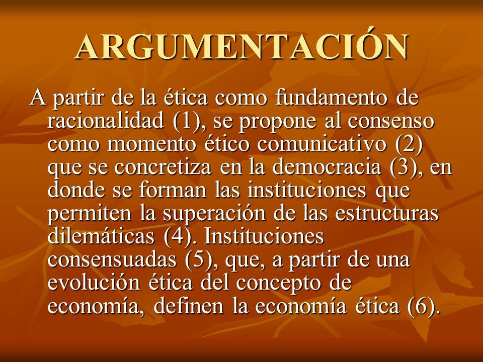ARGUMENTACIÓN A partir de la ética como fundamento de racionalidad (1), se propone al consenso como momento ético comunicativo (2) que se concretiza e