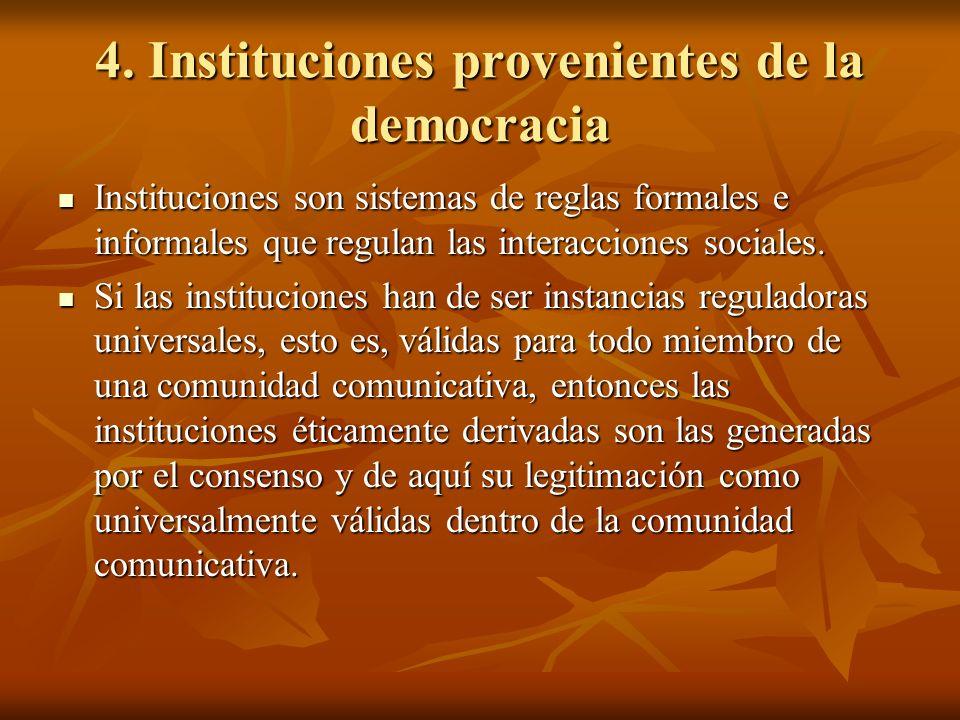 4. Instituciones provenientes de la democracia Instituciones son sistemas de reglas formales e informales que regulan las interacciones sociales. Inst