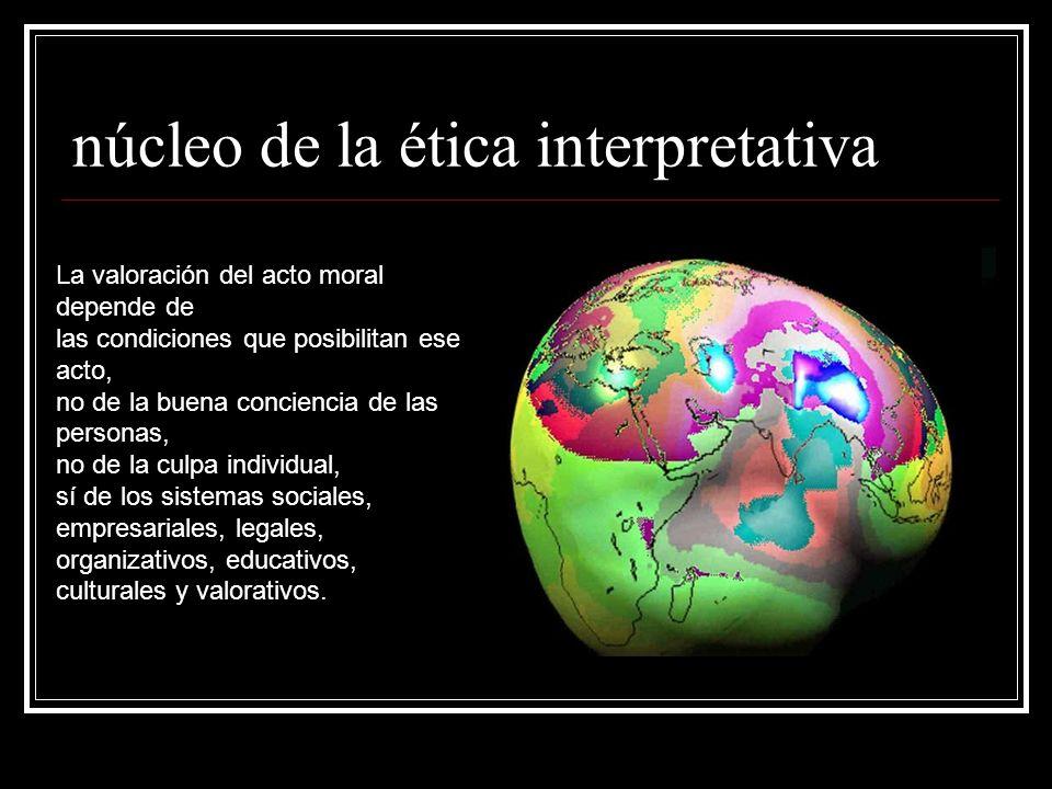 núcleo de la ética interpretativa La valoración del acto moral depende de las condiciones que posibilitan ese acto, no de la buena conciencia de las personas, no de la culpa individual, sí de los sistemas sociales, empresariales, legales, organizativos, educativos, culturales y valorativos.