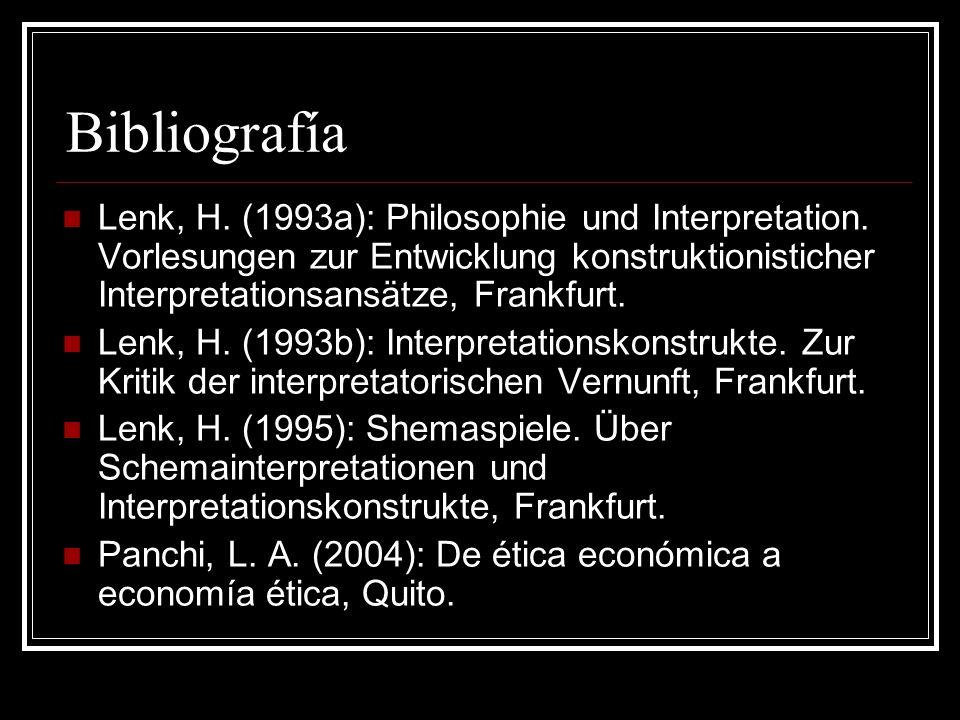 Bibliografía Lenk, H. (1993a): Philosophie und Interpretation. Vorlesungen zur Entwicklung konstruktionisticher Interpretationsansätze, Frankfurt. Len